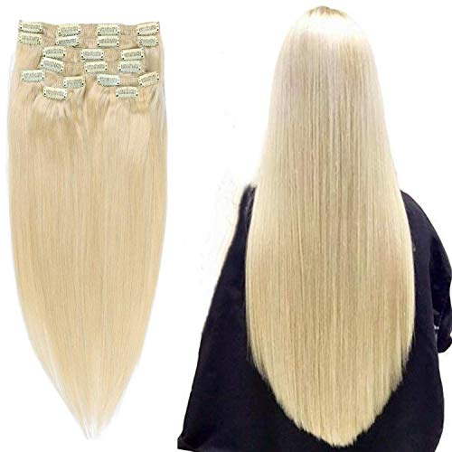 """14""""/14 inch 100g Double Weft Extension Clip Cheveux Grade 9A Quality Full Head Thick Thickened Long Straight 8pcs 20clips for Women Fashion and Highli"""