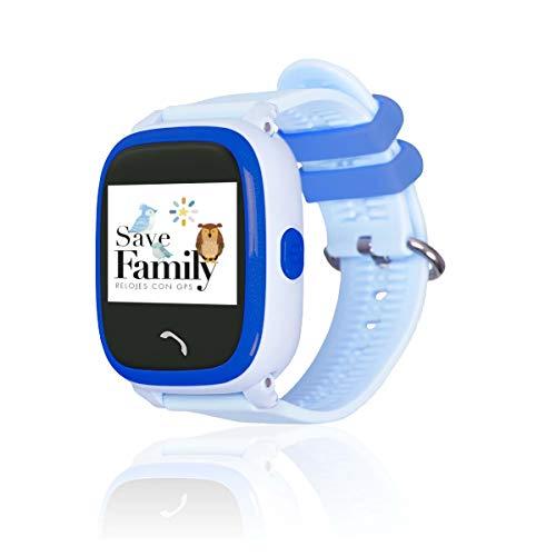 Reloj con GPS para niños SaveFamily Infantil Completo Acuático IP67. Smartwatch con Botón SOS, Anti-Bullying, Chat Privado, Modo Colegio, Llamadas y Mensajes. App SaveFamily. Incluye Cargador. Azul