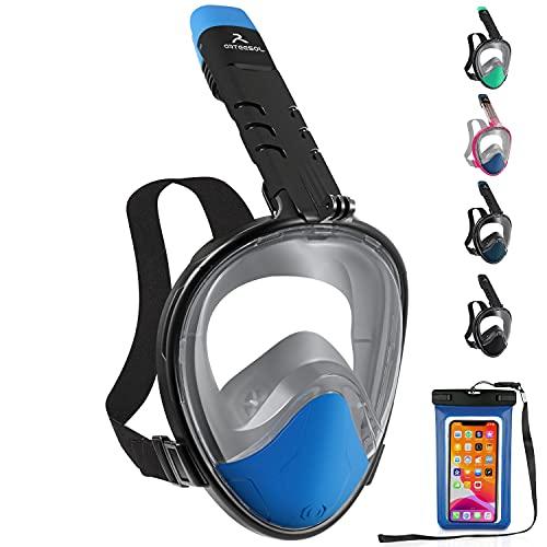 arteesol Tauchmaske, Vollgesichts-Schnorchelmaske 180 ° Panoramablick Faltbare, frei atmende Schnorchelmaske mit abnehmbarer Kamerahalterung Anti-Leck-Anti-Fog-Schnorchel-Set für Erwachsene und Kinder