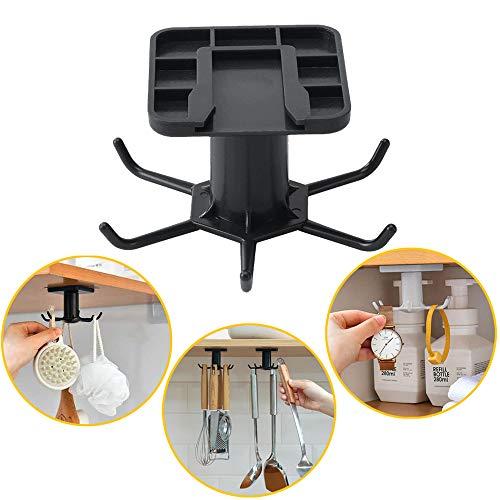 Versatile 6-Hook Utensils Holder for Kitchen Bathroom Garage Under cabinet 360° Rotating Hooks Self-Adhesive Hanger Perfect for Hanging Pots Pan Spoons Gloves Knives Black