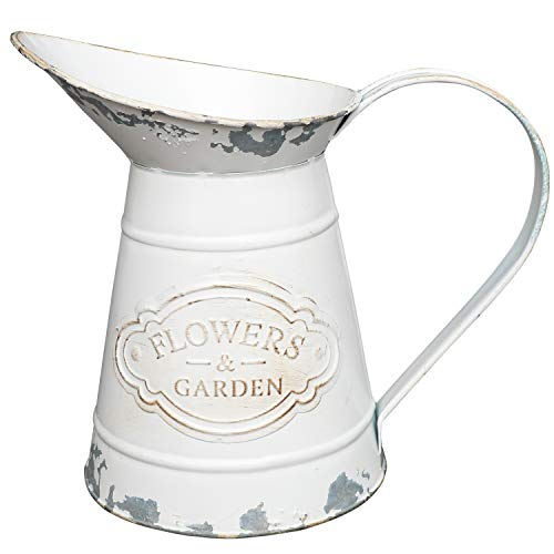 VANCORE Shabby Chic White Flower Vase Rustic Style Metal Jug Pitcher Vase Watering Can Country Vase for Home Decoration