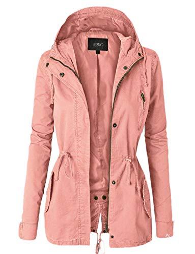 Jotebriyo Women Plus Size Hooded Fall Plain Mid Length Windbreaker Trench Coat Jacket Pink XL