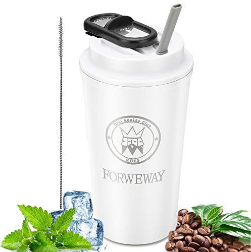 FORWEWAY Kaffeebecher to go Thermobecher Coffee Travel Mug Edelstahl 100% Auslaufsicher Teebecher mit Stroh Doppelwandiger Isolierbecher 500ml/18oz für heiße und kalte Getränke (Matt-weiß)