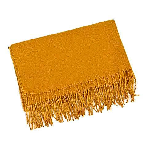 Thick pure plain cashmere scarf women's autumn and winter warmth annual meeting tassel scarf shawl-turmeric_70*200cm (FYR)