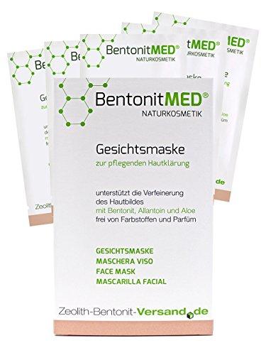 Bentonit MED Gesichtsmaske 5 x 12 ml, Naturkosmetik, ohne Parabene, ohne Parfum, ohne Silikone