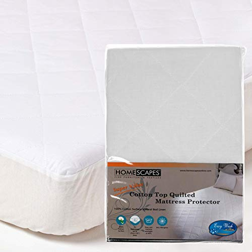 Homescapes - King Size - New Improved with 100% Cotton Top Quilted Mattress Protector - 25 cm Deep Fitted Mattress Protector