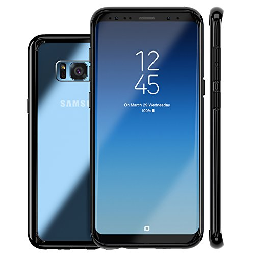 ROYBENS Galaxy S8 Plus Case, Clear Hybrid Hard Back and Slim Thin Excellent Grip Flexible Soft Silicone Gel Bumper Shockproof Full Body Protection Cover for Galaxy S8 Plus - Black Edge