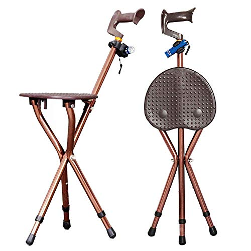 YUNSHINE Bastón plegable Asiento 400 lb Capacidad 3 patas Bastón de altura ajustable Bastón alto con luz LED Unisex para ancianos Brown