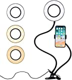 Professional Selfie Ring Light and Cell Phone & Webcam Holder for YouTube and Video Recording. Makeup Tutorials, Live Stream by Eazories®