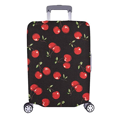InterestPrint Custom Red Cartoon Cherry Holiday Travel Business Luggage Cover Protector Suitcase Elastic 25'-31.5'(26-28 Inch Luggage)