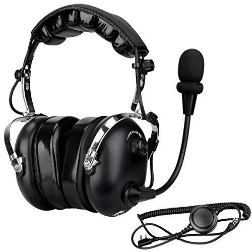 Retevis EH070K Aviation Headset Luftfahrt Headset Funkgerät Headset Pilot-Kopfhörer Kompatibel mit Retevis RT24 RT27 Kenwood Baofeng PUXING QUANSHENG WEIERWEI WOUXUN HYT TYT Funkgerät (1 STK.)