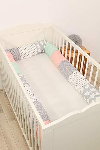 Baby Nestschlange | Made in EU | ÖkoTex 100 | Schadstoffgeprüft | Antiallergisch | Baby Bettumrandung | Bettschlange | Elefant Mint Rosa | 300 x 13 cm | ULLENBOOM ®