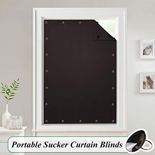 StangH Blackout Window Curtain Blind - Adjustable Temporary Thermal Insulated Shade Panel Drapery with Suckers for Study Room/Rent Room, Brown, Wide 51 by Long 78 Inch, 1 Panel