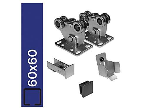 Bodenführung-Set 60x60mm Laufwerk freitragend, für 250kg Schiebetor