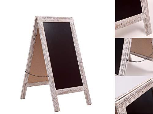Kundenstopper Tafel / Aufsteller Werbetafel Kreidetafel / Holz Gehwegaufsteller Kreidetafel / Groß H100cm / Rustikale weiß getünchte