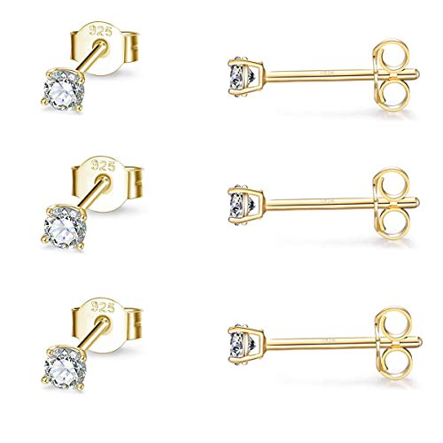 Gulicx 3 Pairs 2mmSilver 14K Gold Stud Earrings Set for Women Girls, Hypoallergenic 925 Stering Silver Round Cubic Zirconia Simulated Diamond Stud Earrings, Small Sleeper Cartilage Studs