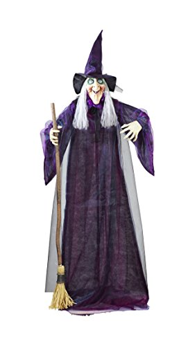 Widmann 01409 - Drehende und sprechende Hexe mit leuchtenden Augen, Größe Circa 183 cm