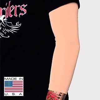 Tat2X Ink Armor Premium 3/4 Arm Tattoo Cover Up Sleeve - No Slip Gripper - U.S. Made - Light - ML (Single arm/Elbow Sleeve)