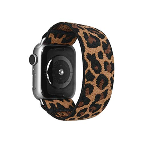 Tefeca Dark Cheetah/Leopard Pattern Elastic Compatible/Replacement Band for Apple Watch 38mm/40mm (Silver Adapter, XS fits Wrist Size : 5.5-6.0 inch)