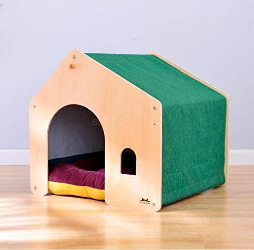 Dierbenodigdheden Cat Nest Hondenhok Afneembaar en wasbaar Warm Houten hondenhok Villa Dierbenodigdheden Dierkamerinterieur