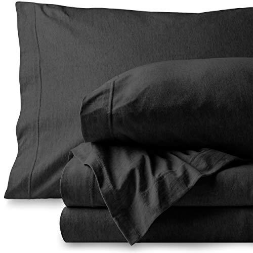Bare Home Jersey Sheet Set, Ultra Soft, 100% Cotton - Breathable - Deep Pocket (Queen, Black - Mélange)