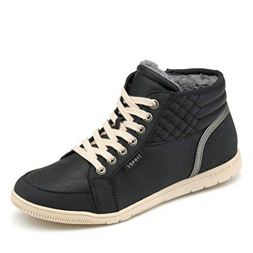 ESPRIT 087EK1W060-001 Damen Sneaker kuscheliges Innenfutter Sportive Laufsohle, Groesse 37, schwarz