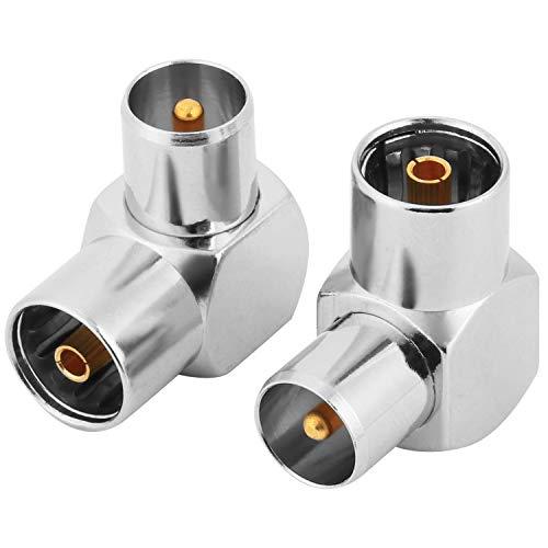 Conector de antena de TV coaxial hembra a macho TV PAL, adaptador coaxial plateado en ángulo recto Adaptador de antena coaxial RF, paquete de 2