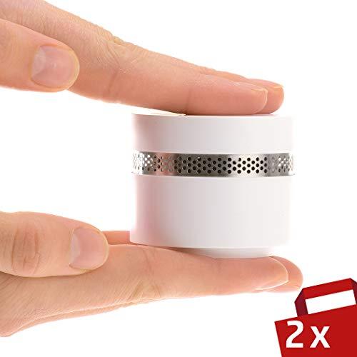 4smile Mini Rauchmelder Design 2er Set - Feuermelder optisch schön, extra-klein und dennoch sicher...