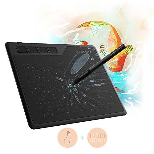 GAOMON S620 Zeichentablett mit 8192 Druckstufen batterielosem Stift und Handschuh (mit OTG Funktion), kompatibel mit Windows und Mac AP32 Battrieloserm Stift