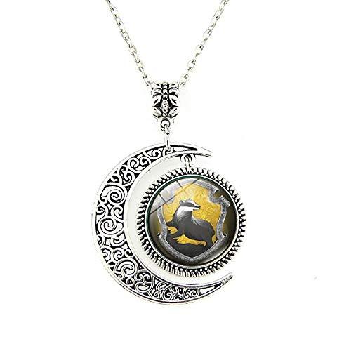 WYFLL Hufflepuff - Collar con colgante de luna con gema del tiempo y colgante para mujer, joyería europea y americana