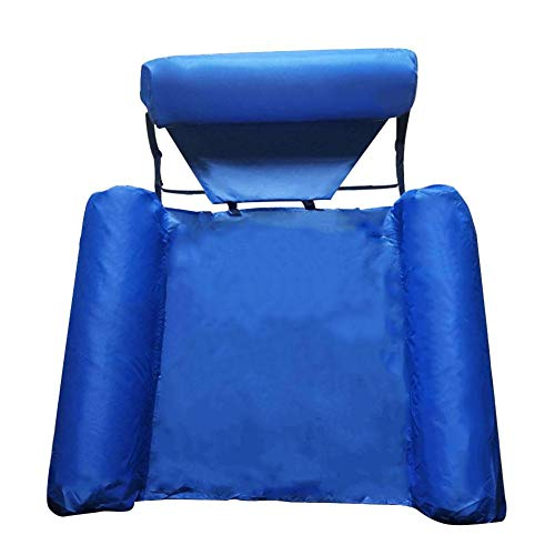 BDLeKing Pool Floating Chair Hammock With Net, Inflatable Swimming Pool Float Lounge Sofa, Foldable Dual-use Fabric Covered U-Seat, Water Chair For Adults