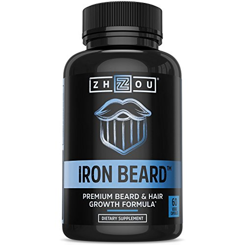 Zhou Nutrition Iron Beard, Growth Vitamin Supplement for Men, 60 Capsules