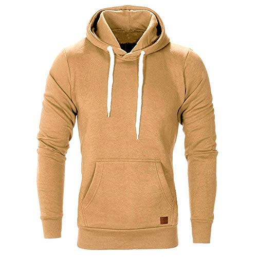 KXZD Mens Long Sleeve T Shirt Fashion Hoodies Jumper Sweatshirt Running Hoody Casual Solid Colors Hoodie T-Shirt Comfortable Tops Hooded Sweatshirts Gym Workout Long Sleeve Sports Hoodie Pullover