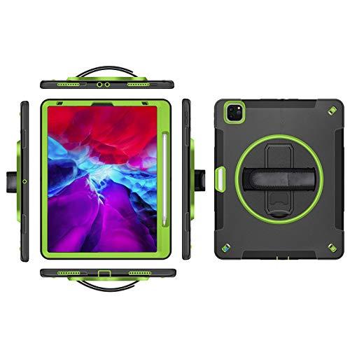 QGGESY Fundas duras para Tablets,Asa Base Soporte Correa para el Hombro portalápices,Admite conexión y Carga inalámbrica,Adecuado para iPad Pro12.9 2018/2020,Green,iPad Pro 12.9