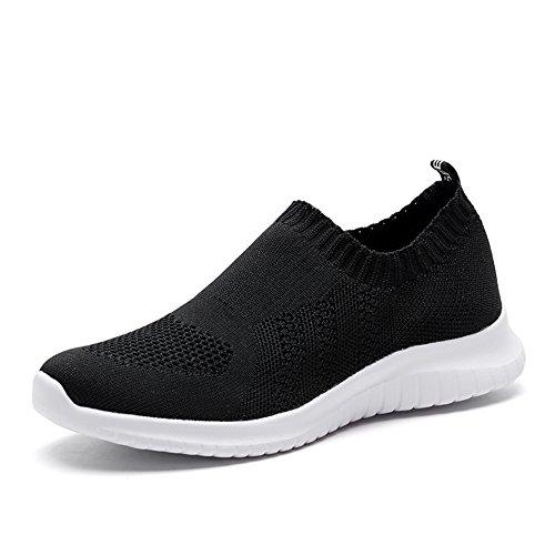 TIOSEBON Women's Walking Shoes Lightweight Mesh Slip-on- Breathable Running Sneakers 6.5 US Black