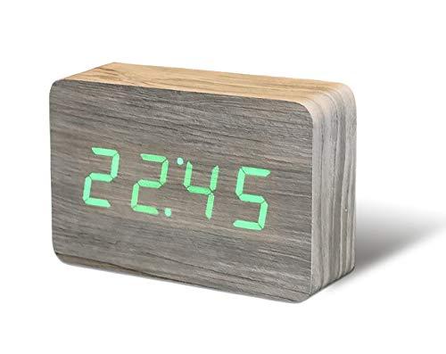 Gingko Brick Click Clock Beech Wecker - Holzoptik 15x4,5x10 cm Ashwood/LED grün