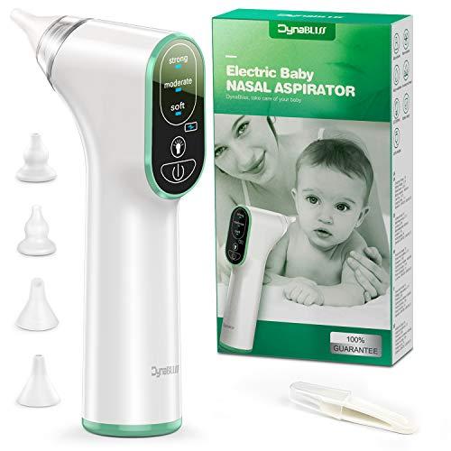 Nasensauger Baby Elektrisch, DynaBliss Nasensaug Baby Staubsaug USB Aufladen Medizinisches Silikon mit 3 Saugstärken Tragbar Nasensauger