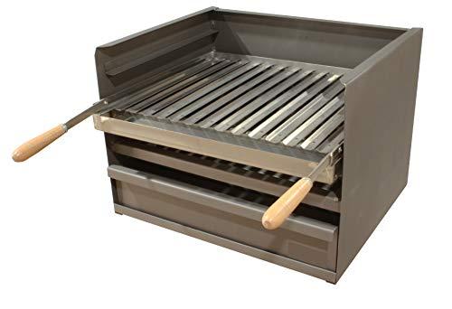 Cajón para Barbacoa con Parilla Inoxidable, barbacoa 50x41 CM carbón y leña con 3 alturas y cajón para cenizas.
