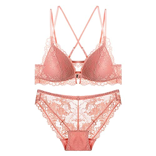 SENFEISM Comfortable Lace Sexy Underwear Women Thin No Steel Ring Beauty Back Bra Set Breasts Front Buckle Womens Lingerie