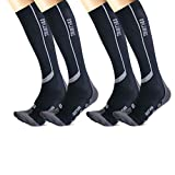 Thirty48 Graduated 20-30mmHg Elite Compression Socks for Performance & Recovery, Best for Running, Shin Splints (L/XL (US Women 11-14+ / US Men 9-13), [2 Pairs] Black/Grey)