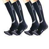 Thirty48 Elite Chaussettes de compression pour homme et femme Graduées 20–30 mmHg pour course à pied, athlétisme, avion – Performance et récupération, Homme, [2 Paires] Noir/Gris, Large-X-Large