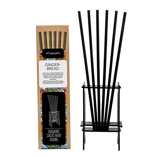 ACappella Pre-Fragranced difusor de lámina de Palos con Soporte Pan de Jengibre Perfume - Sticks habitación Gift Set - No líquido Necesario - 3 x 6 Piezas (Pack de 3)