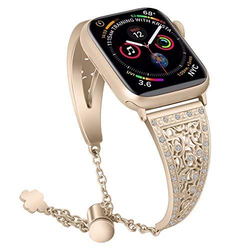 AISPORTS Compatible con Apple Watch Correa 40mm 38mm para Mujeres, Pulsera Delgada de Cristal Brillante con Hebilla Clásica de Metal Correa de Repuesto para Apple Watch SE/iWatch Series 6/5/4/3/2/1