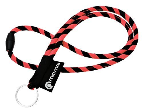 mia Mai, laccetto tubolare Lanyard da 45 con anello portachiavi e chiusura di sicurezza, rosso/nero, 45 cm