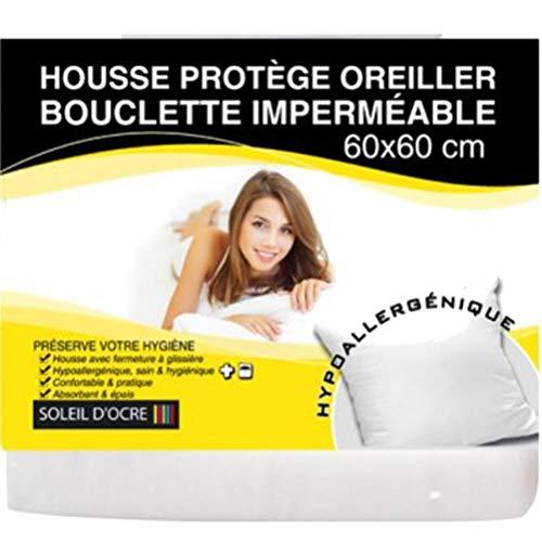 Soleil d'Ocre 554300 Taie Protège Oreiller en Bouclette Imperméable Polycoton Blanc 60 x 60 cm