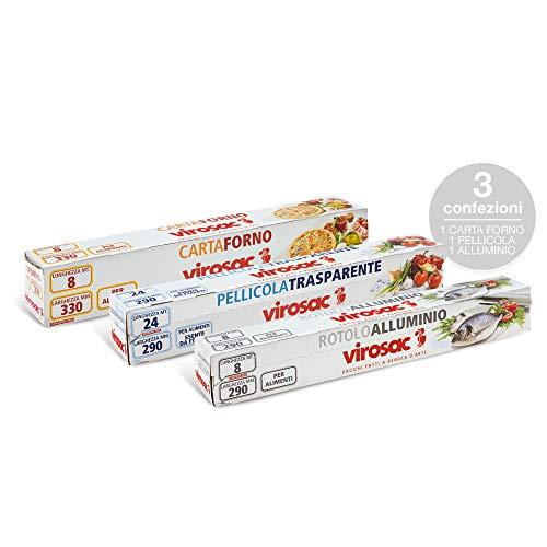 Virosac Kit Cucina: Pellicola Trasparente, Rotolo di Alluminio e Carta Forno per la Conservazione Degli Alimenti, Trasparente