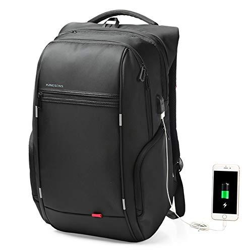 Flybiz Mochila para Portátil Hombre Impermeable 15.6 Pulgadas, Resistente al Agua Mochila con Puerto de USB para Ordenador, Trabajo Ordenador Viaje Negocio Multifuncional Daypacks (Estilo 2-Negro)