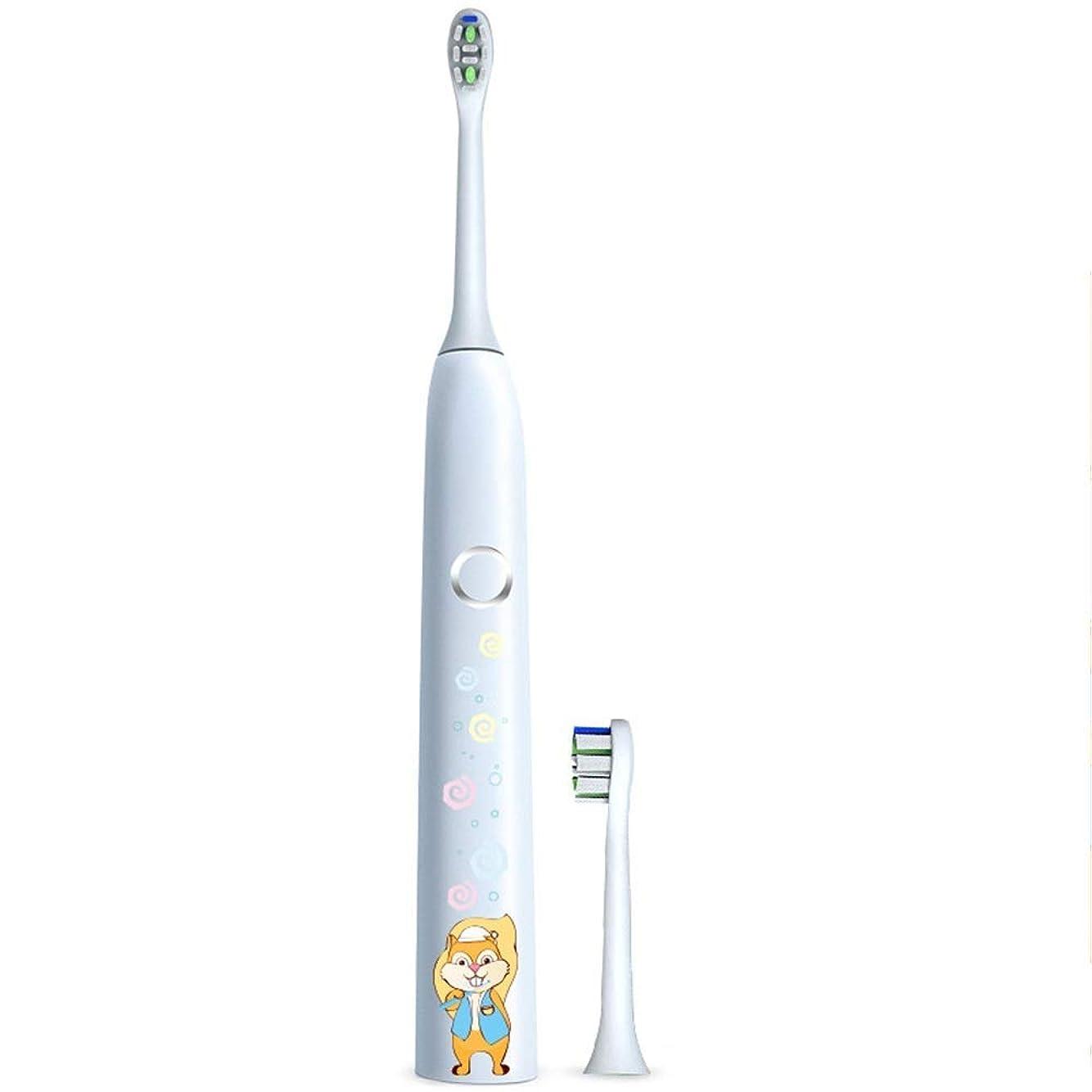一晩リレー是正電動歯ブラシ 子供の電動歯ブラシ保護クリーンUSB充電式ソフトヘア歯ブラシ歯医者推奨 ケアー プロテクトクリーン (色 : 白, サイズ : Free size)