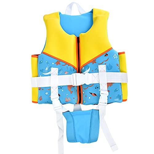 XKDWAN Chaleco de Natación para Niño, Chaleco de Flotación Deportes Acuáticos Asistencia de Natación para Bebe Infantiles Niña Niño,Azul,M