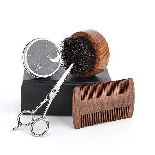 Kit de Barba 4pcs/Set, Kit de Aceite de Barba Crema...